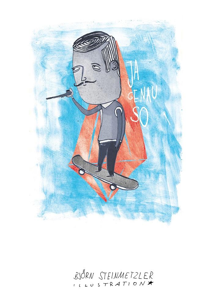 Björn Steinmetzler, Illustration, Art, Kunst, Malen, zeichnen, Stencil, red dot, design award, art directors club, german design award, skateboard, grafikdesign