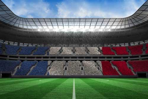 Fußball und Stadion in französischen Farben
