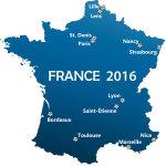Karte über die Austragungsorte der Spiele zur EM in Frankreich